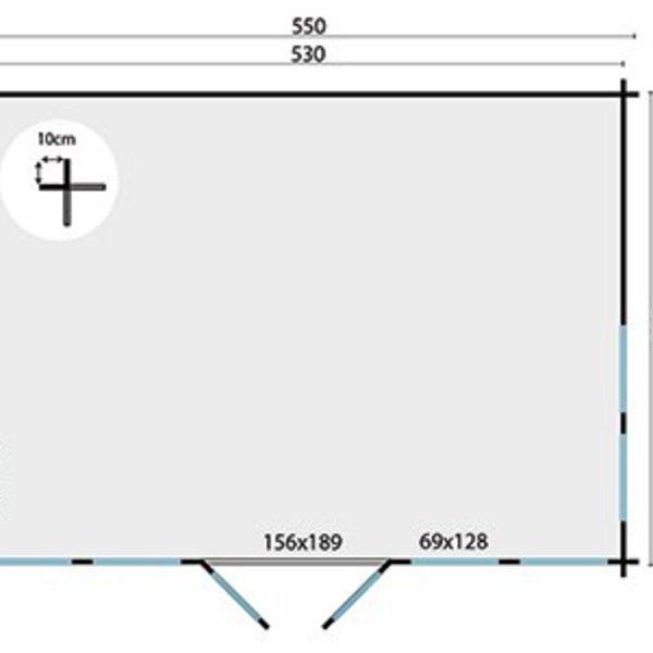 Abri de jardin 45mm CLOCKHOUSE 5,5x4m