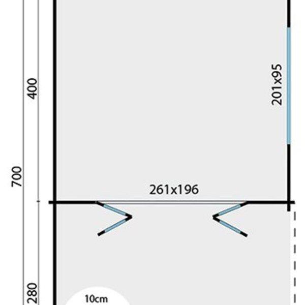 Abri de jardin 45mm TORKEL 7x4,2m