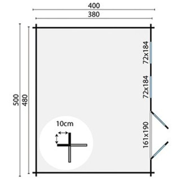 Abri de jardin en madriers  40mm ANNABEL 5x4m