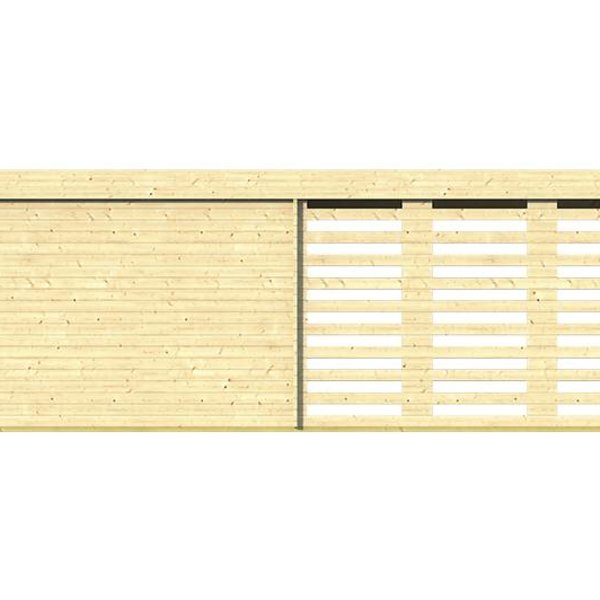 Abri de jardin en madriers  40mm OLETHA 7,85x5,1m