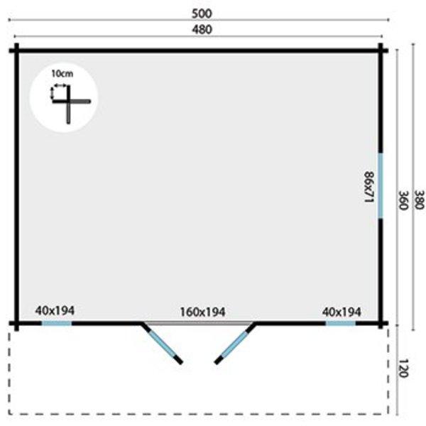 Abri de jardin 45mm GUSTAV 5x3,8m