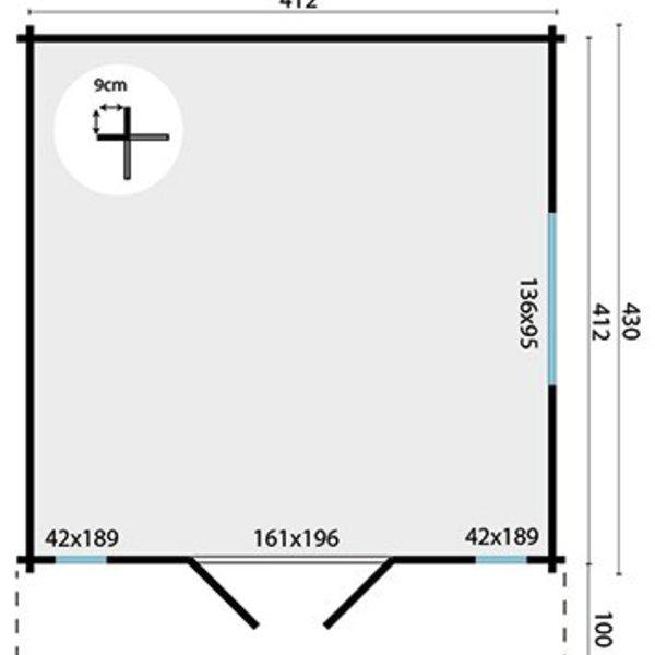 Abri de jardin 45mm LAULA 4,3x4,3m
