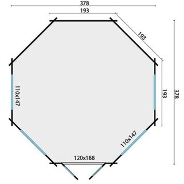 Abri de jardin en madriers 45mm LYNN 4,27x4,27m