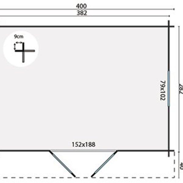 Abri de jardin 40mm DYRE 4x3m