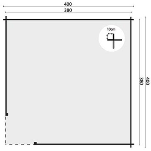 Abri de jardin en madriers  45mm MARIT 4x4m