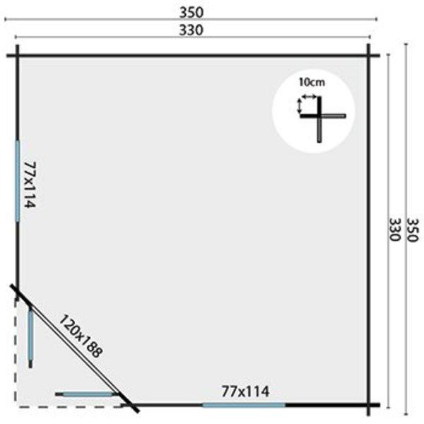 Abri de jardin en madriers45mm  NILSSON 3,5x3,5m