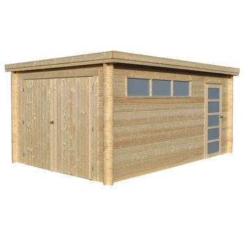 Garage toit plat OREGON en madrier 28mm 325x505cm