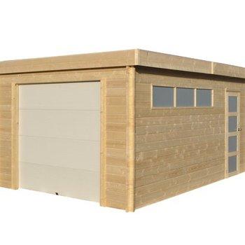 Garage toit plat MODERN en madrier 40mm 385x565cm