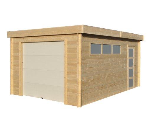 Garage Toit Plat Modern En Madrier Mm XCm  Constructions En