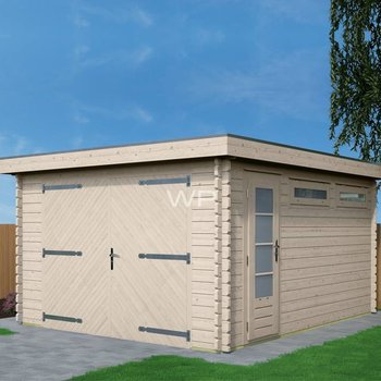 Garage plat dak WOODPRO in wanden 44mm 400X500cm