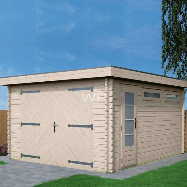Garage toit plat WOODPRO en madriers 44mm 400x500cm
