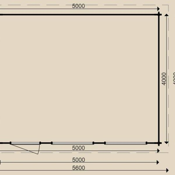 Garage plat dak WOODPRO in wanden 44mm 400X500CM