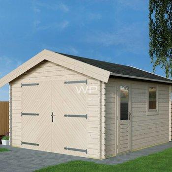 Garage toit en pente  WOODPRO en madriers 44mm 400x500cm