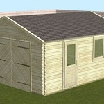 Garage hellend dak WOODPRO in wanden 44mm 400X500cm -