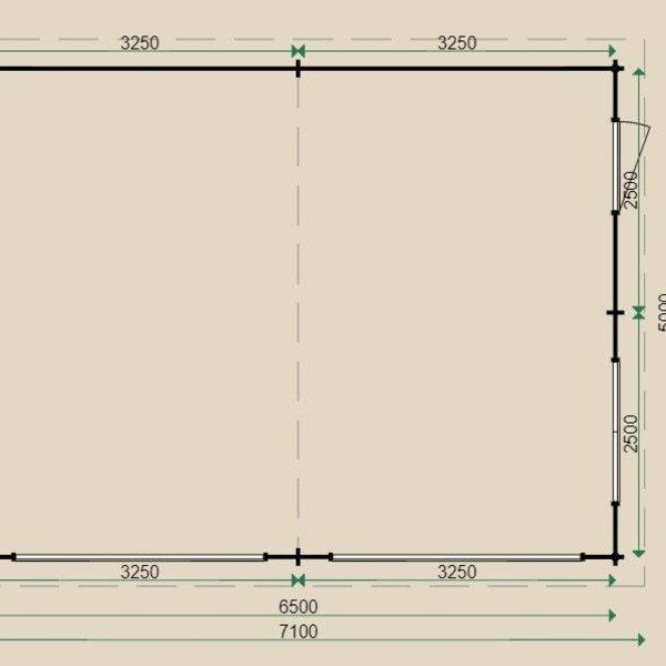 Garage  LUGARDE en madriers  44mm 650X500cm  G7