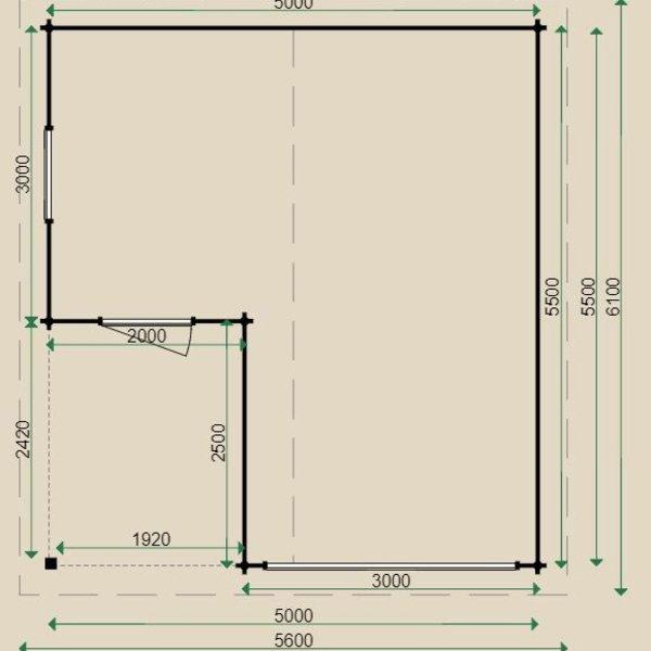 Garage hellend dak LUGARDE in wanden 44mm 500X550cm  G4