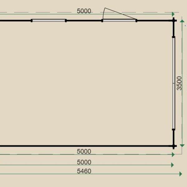Garage plat dak LUGARDE in wanden 44mm 350X500cm  G2