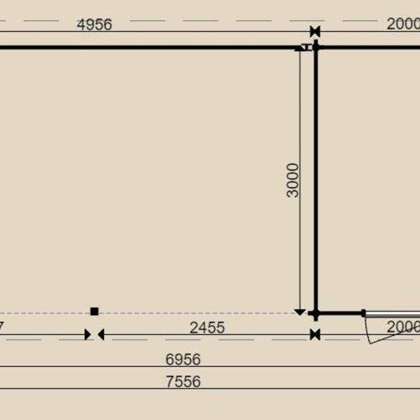 Tuinhuis  WOODPRO in wanden 44mm 300x700cm