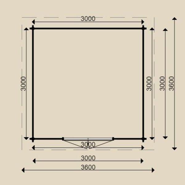 Tuinhuis  WOODPRO in wanden 44mm 300x300cm