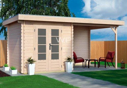 Abri de jardin en madriers 28mm  toit plat