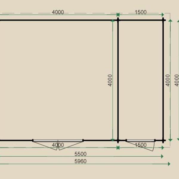 Blokhut  LUGARDE in wanden 44mm 400x550cm B26