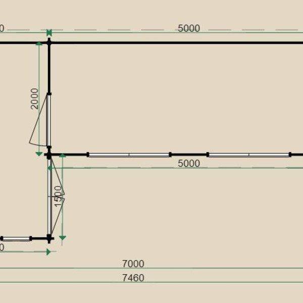 Blokhut  LUGARDE in wanden 44mm 350x700cm B32