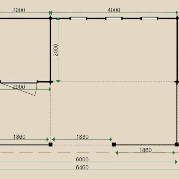 Chalet LUGARDE en madriers 44mm 400x600cm B31
