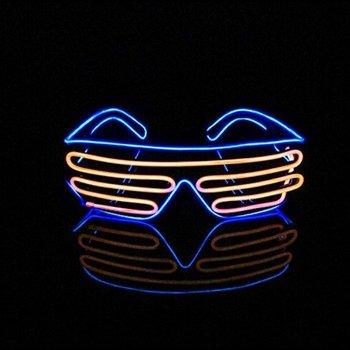 Light Up EL Wire Shutter Glasses Blue / Orange