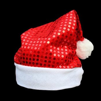 Sequin Santa Hat Red / Christmas Hat Red Sequins