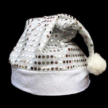 Sequin Santa Hat Silver / Christmas Hat Silver Sequins