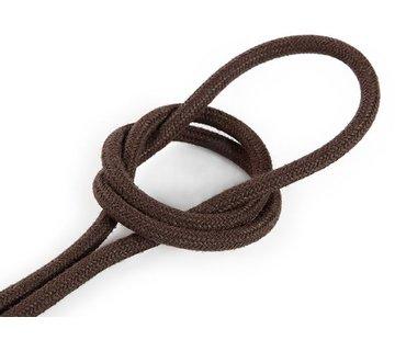 Kynda Light Fabric Cord Brown - round, linen