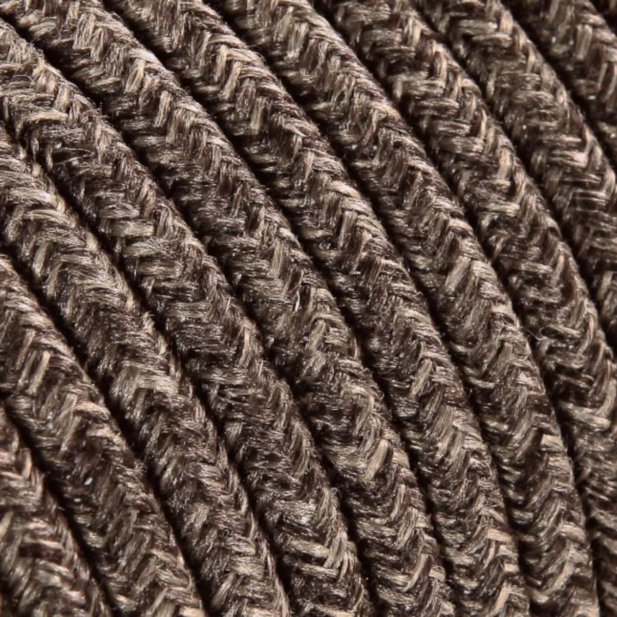 Strijkijzersnoer Bruin mix - rond, linnen