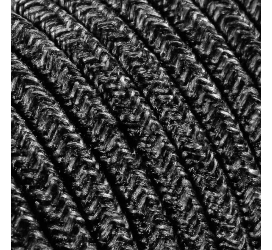 Fabric Cord Mixed Dark Grey - round, linen
