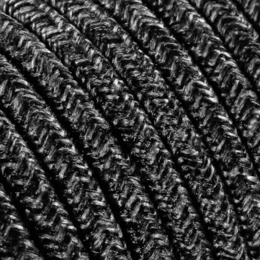 Fabric Cord Mixed Dark Grey - round, linen