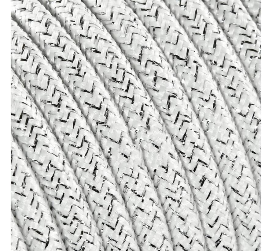 Fabric Cord White (glitter) - round, solid