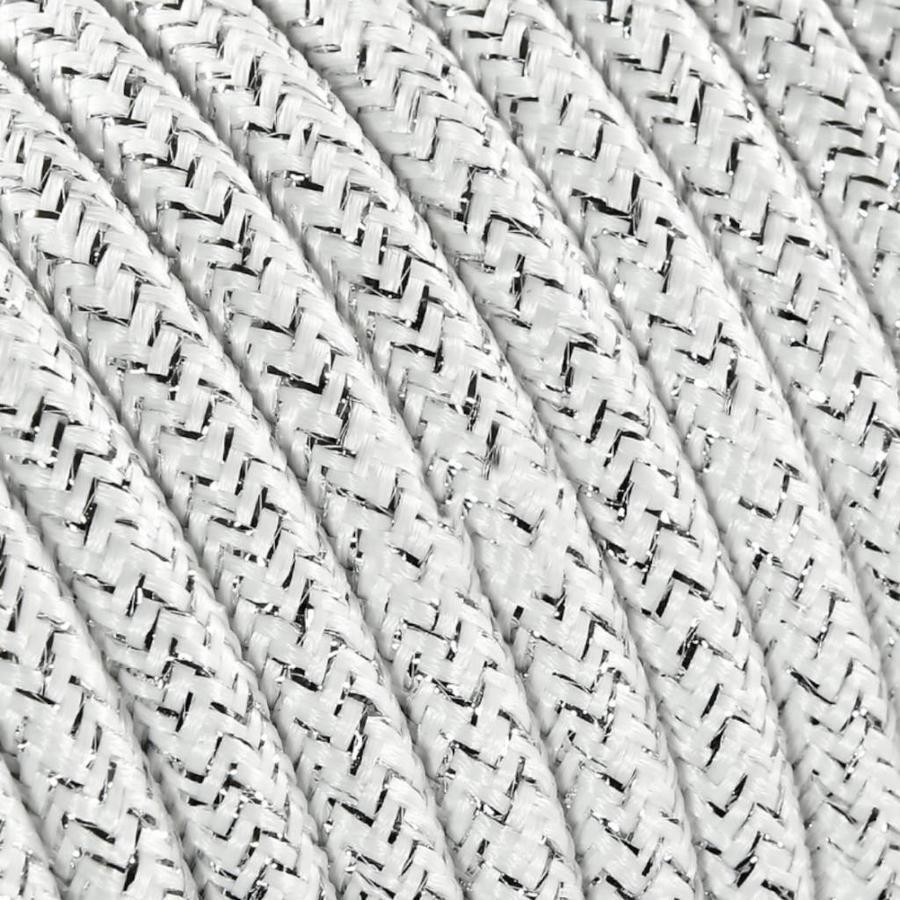 Fabric Cord White (glitter) - round, solid-2