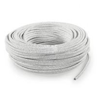 thumb-Strijkijzersnoer Wit (glitter) - rond, effen stof-3