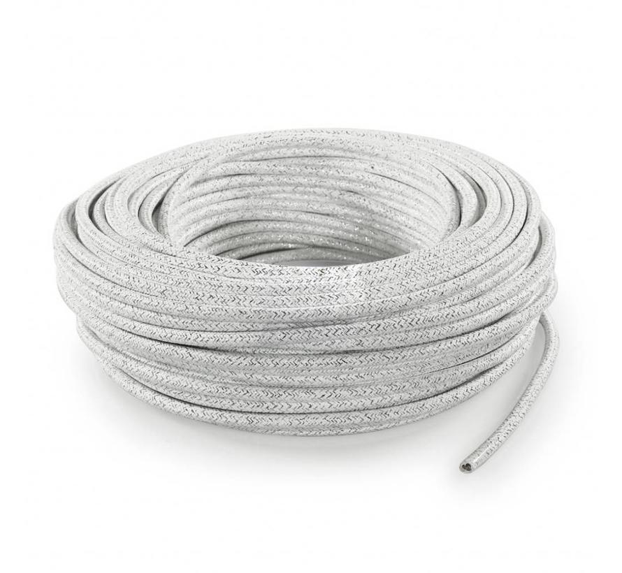 Strijkijzersnoer Wit (glitter) - rond, effen stof