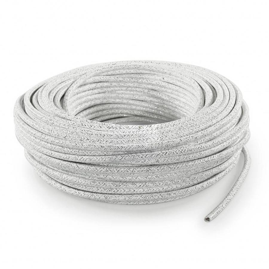 Strijkijzersnoer Wit (glitter) - rond, effen stof-3