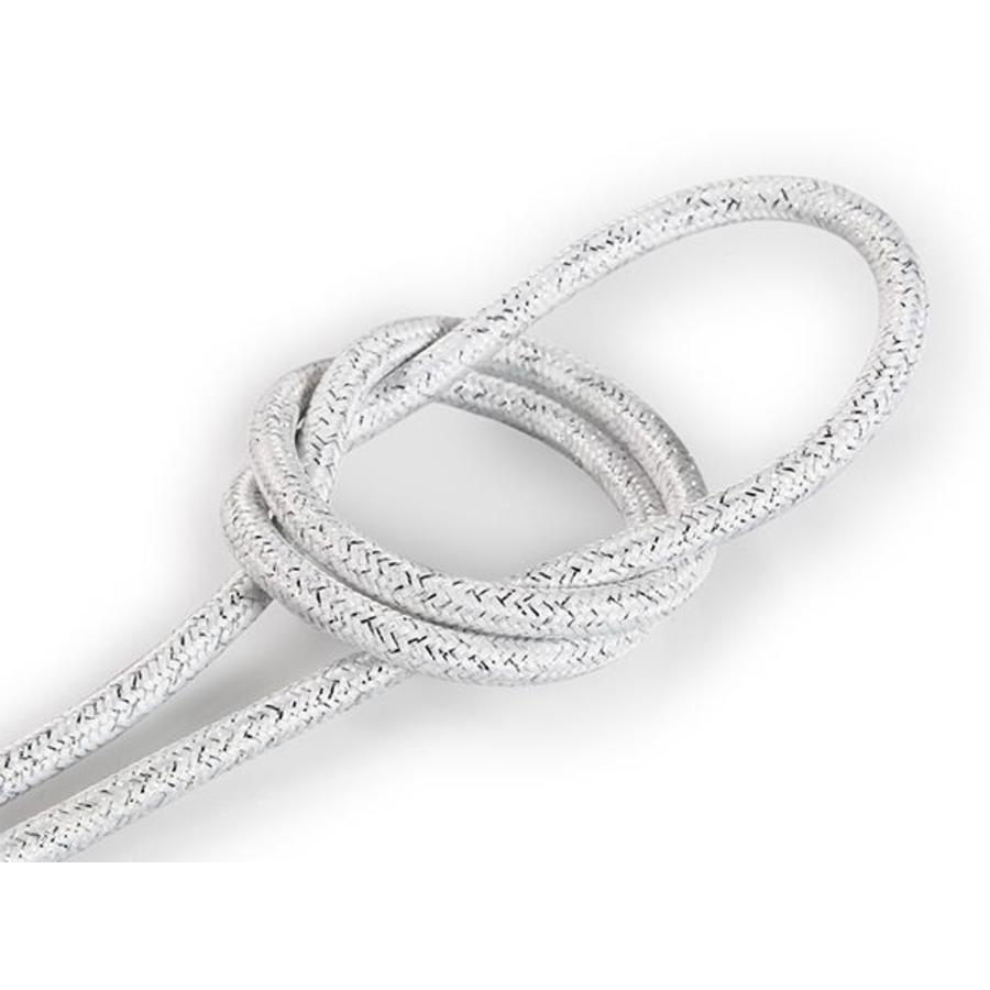 Fabric Cord White (glitter) - round, solid-1