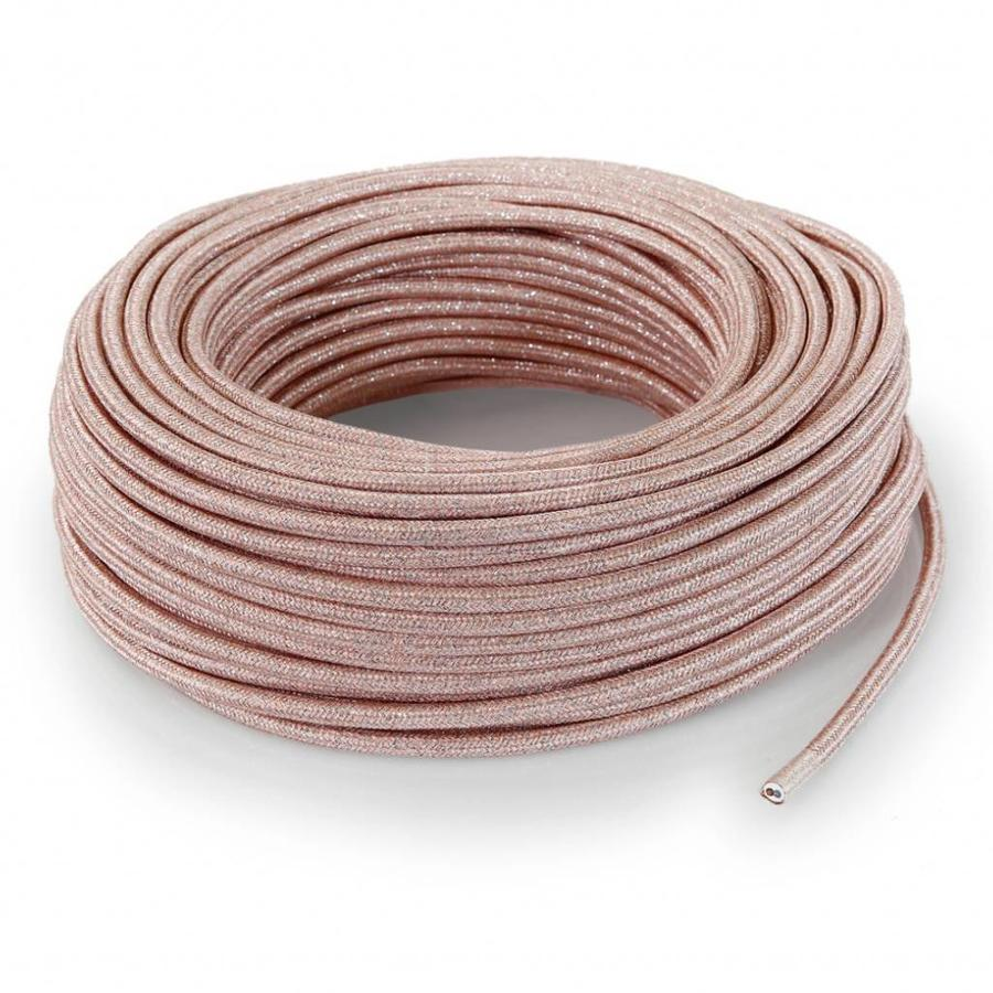 Strijkijzersnoer Roze (glitter) - rond, effen stof-3