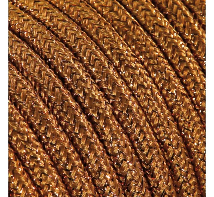 Strijkijzersnoer Koper (glitter) - rond, effen stof