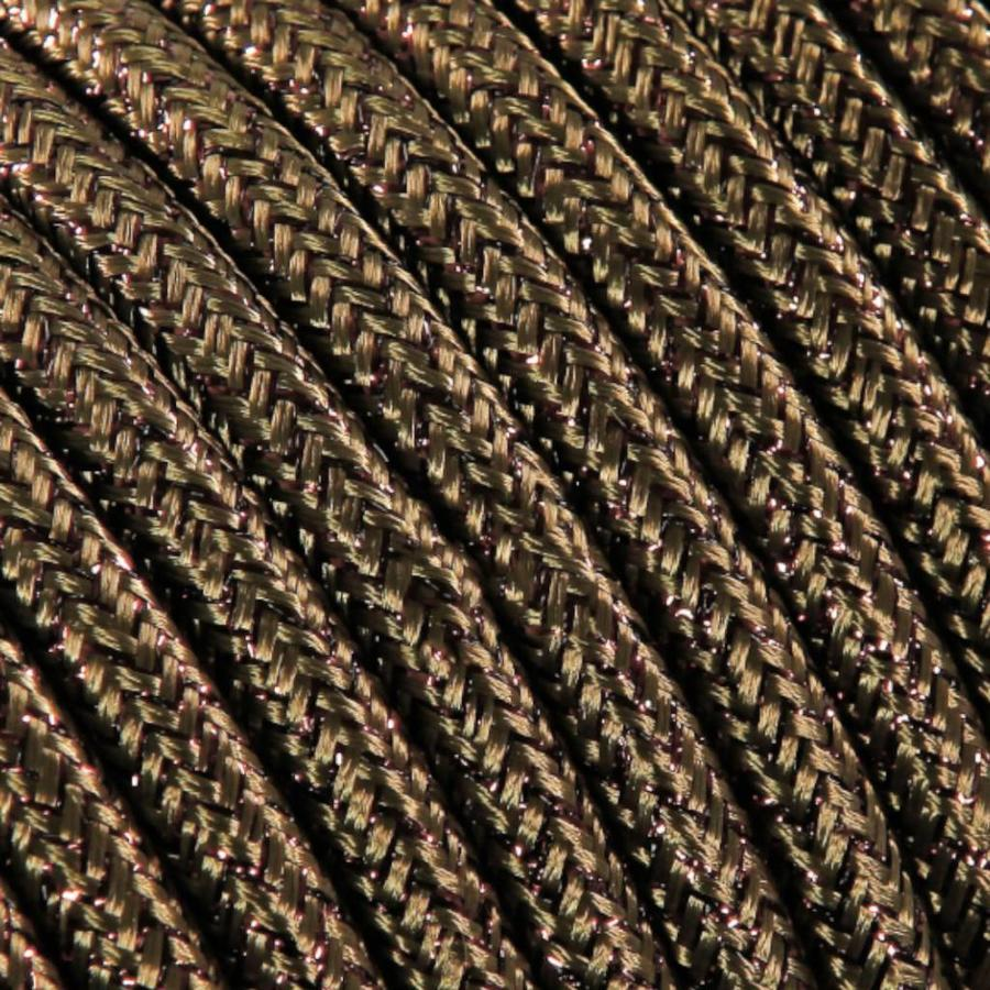 Strijkijzersnoer Bruin (glitter) - rond, effen stof-2