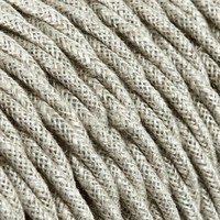 Fabric Cord Beige - twisted, linen