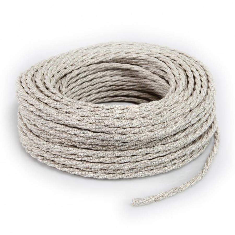 Fabric Cord Beige - twisted, linen-3