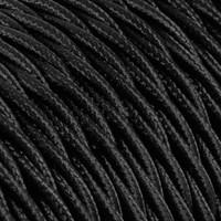 thumb-Strijkijzersnoer Zwart - gedraaid, effen stof-2