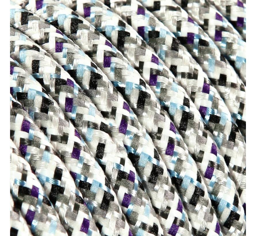 Strijkijzersnoer Wit (pixel patroon) - rond, effen stof