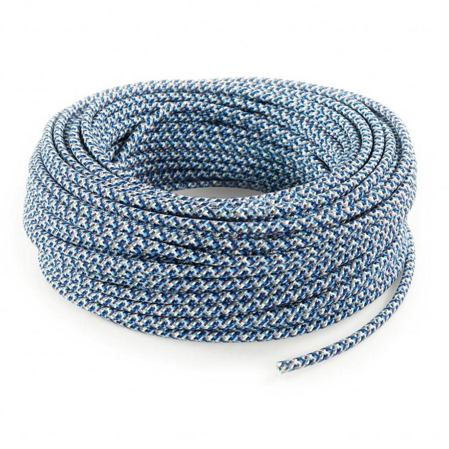 Fabric Cord Blue (pixelated) - round, solid