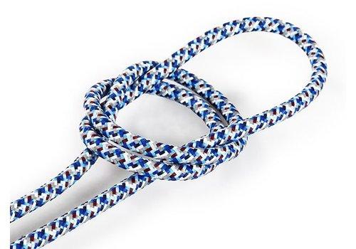 Strijkijzersnoer Blauw (pixel patroon) - rond, effen stof