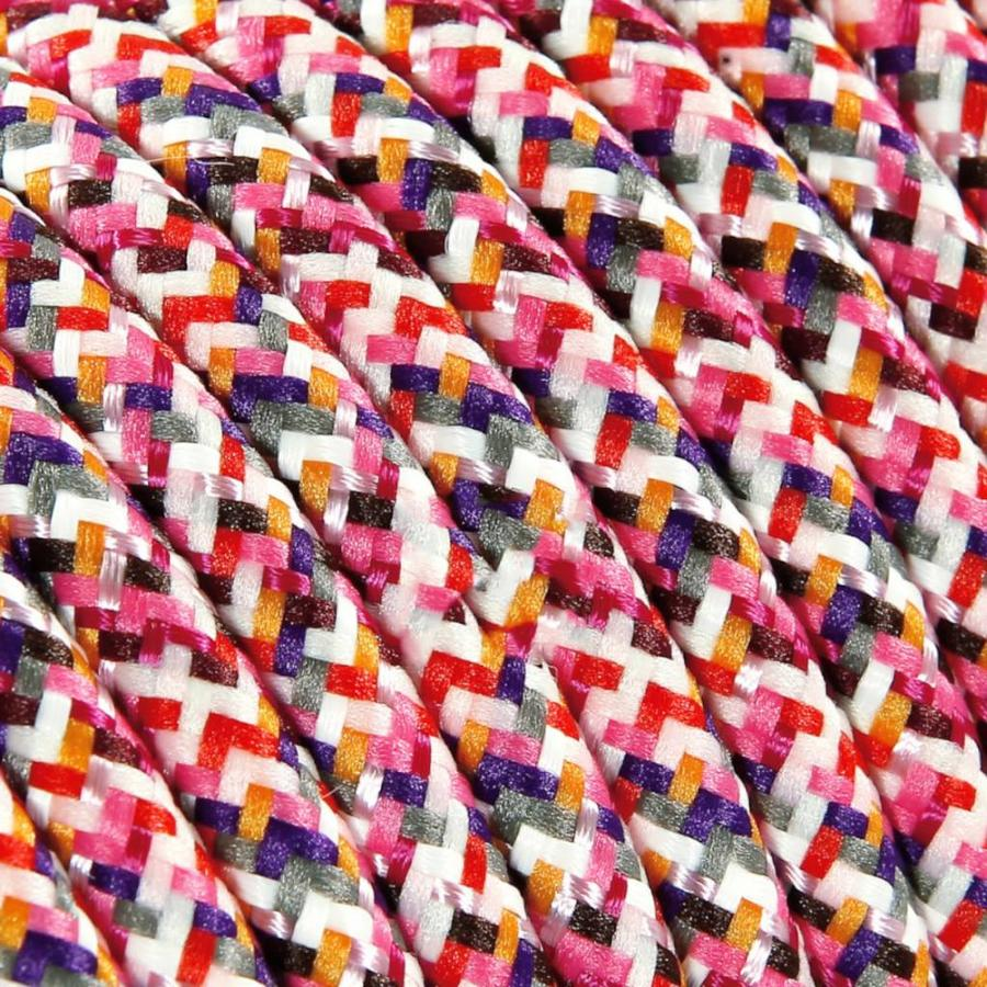 Strijkijzersnoer Roze (pixel patroon) - rond, effen stof
